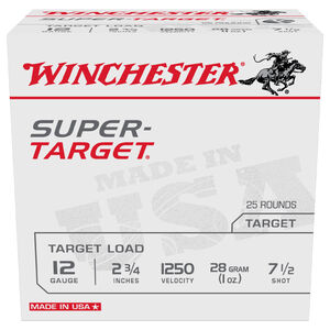 "Winchester Super-Target 12 Gauge Ammunition 250 Round Case 2-3/4"" #7.5 Lead 1oz 1250 fps"