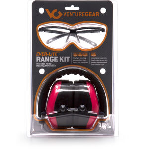 Pyramex Safety Products Ever-Lite Range Kit Ear and Eye Protection Combo Pack Safety Glasses with Pink Lenses and Black Frames Ear Muff with Foldaway Headband 26dB NRR Pink VGCOMBO8617