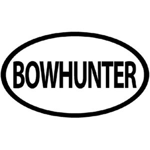 "Outdoor Decals ""Bowhunter"" Oval Decal 4""x6"" Vinyl Black on White"