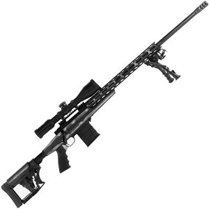"Howa American Flag Chassis .308 Win Bolt Action Rifle 24"" Barrel 10 Rounds APC Aluminum Chassis M-LOK Forend Luth-AR MBA-4 Stock Battleworn Gray US Flag/Black Finish"