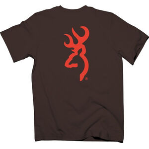 Browning Mens Buckmark Logo Short Sleeve T Shirt Cotton Chocolate Small