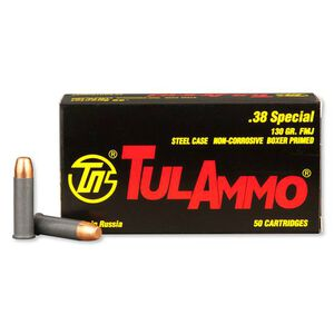 TulAmmo .38 Special Ammunition 50 Rounds FMJ 130 Grains TA038158