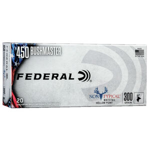 Federal Non-Typical .450 Bushmaster Ammunition 20 Rounds 300 Grain Jacketed Hollow Point 1900fps