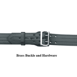 """Gould & Goodrich B59 Lined Duty Belt 34"""" Waist 4 Row Stitched Construction Fully Lined 2.25"""" Wide Removable Brass Buckle Plain Black Finish"""