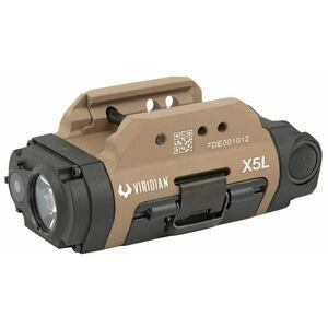 Viridian X5L Gen 3 Tactical 500 Lumen Weapon Light/Green Laser Combo Universal Rail Mount Rechargeable Battery 6061-T6 Aluminum Housing Flat Dark Earth