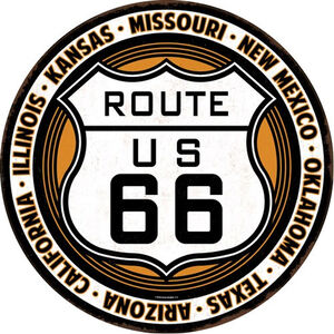 "Open Road Brands ""Route 66"" Embossed Tin Sign 12""x12"""