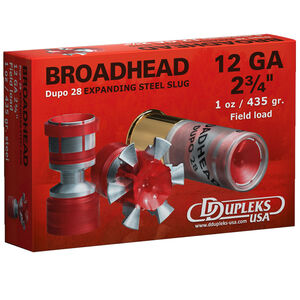 "DDupleks USA Broadhead Dupo 28 12 Gauge Ammunition 5 Rounds 2 3/4"" 1oz Steel Dupo 28 Slug 1460 fps"