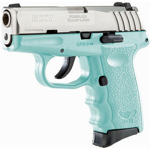 "SCCY CPX-3 .380 ACP Semi Auto Pistol 2.96"" Barrel 10 Rounds No Safety SCCY Blue Polymer Frame with Stainless Slide Finish"