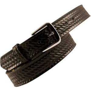 "Boston Leather 6582 Off Duty Leather Garrison Belt 52"" Nickel Buckle Basket Weave Leather Black 6582-3-52"