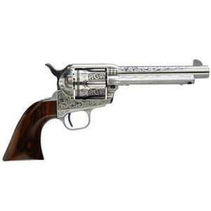 """Taylor's and Company 1873 Cattleman Photo Engraved Single Action Revolver .45 Long Colt 5.5"""" Barrel 6 Rounds Walnut Grips White Heat Treated Finish with Laser Engraved and Hand Chased Design 701AWE"""