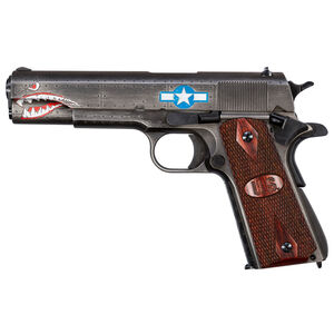 """Auto-Ordnance Squadron Special Edition WW2 1911 Semi Auto Pistol .45 ACP 5"""" Barrel 7 Rounds Magazine Checkered Wood US Logo Grips Black/Gray Cerakote Finish"""