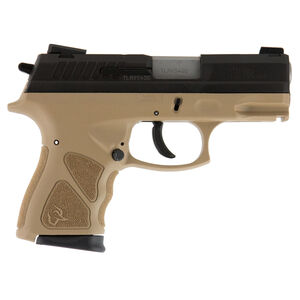 "Taurus TH9c 9mm Luger Semi Auto Pistol 3.5"" Barrel 17 Rounds Thumb Safety Tan Polymer Frame Black Slide"