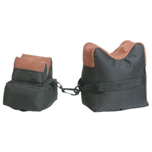 Max-Ops Two Piece Bench Bag Shooting Rest Set Fabric/Leather Green/Tan