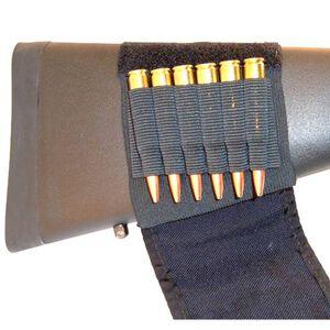GrovTec Buttstock Cartridge Shell Holder Rifle with Velcro Flap Elastic Nylon Black