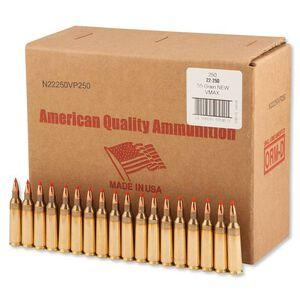 American Quality .22-250 Remington Ammunition 250 Rounds Hornady V-Max 55 Grains F N22250VP250