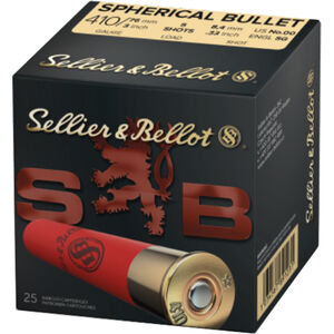"Sellier & Bellot Spherical Bullet .410 Bore Ammunition 25 Rounds 3"" 00 Buck 5 Pellets 1181 fps"