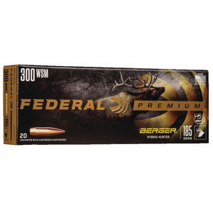 Federal Premium Berger Hybrid Hunter .300 Winchester Short Magnum Ammunition 20 Rounds 185 Grain Berger Hybrid 2950fps
