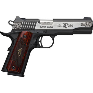 """Browning 1911-380 Black Label Medallion Engraved .380 ACP Semi Auto Pistol 4.25"""" Barrel 8 Rounds Engraved Slide and Wood Grips Polymer Frame Two Tone Stainless/Black Finish"""