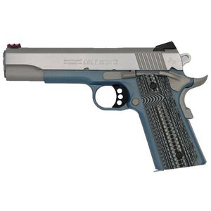 "Colt Competition 1911 Series 70 Government Model Semi Auto Pistol .45 ACP 5"" Barrel 8 Rounds Fiber Front Sight Novak Rear Sight G10 Blue Titanium Frame Finish"