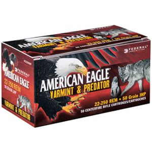 Federal American Eagle .22-250 Remington Ammunition 50 Rounds JHP 50 Grains AE2225050VP