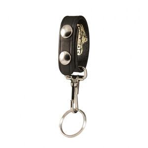 "Boston Leather Belt Keeper with Key Snap Fits 2.25"" Belts Brass Hardware Leather Plain Black"