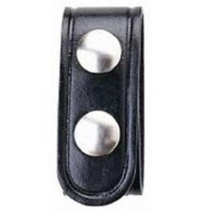 "Boston Leather Belt Keeper .75"" Leather Plain Black Nickel Snaps 5456-1-N"