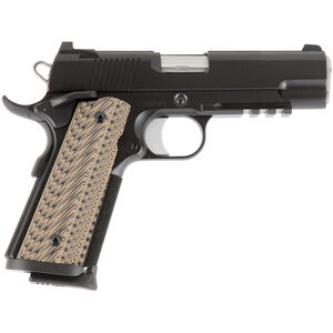 "Dan Wesson 1911 Specialist Commander Semi Auto Pistol 9mm Luger 4.25"" Barrel 9 Rounds Fixed Night Sights G-10 Grips Black Duty Finish"