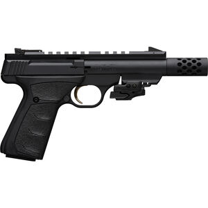 "Browning Buck Mark Black Label SR .22 LR Semi Auto Rimfire Pistol 4.4"" Threaded Barrel 10 Rounds Picatinny Rails with Laser Synthetic Grips Matte Black Finish"
