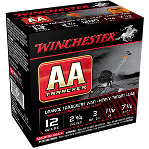 "Winchester USA AA TrAAker Wad Heavy Target Load 12 Gauge Ammunition 2-3/4"" #7.5 Lead Shot 1-1/8 oz 1200 fps"