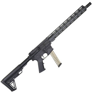"I.O. Inc M215 AR Style Semi Auto Rifle 9mm Luger 16"" Barrel GLOCK Magazine Compatible Free Float M-LOK Hand Guard Hard Coat Anodized Matte Black Finish"
