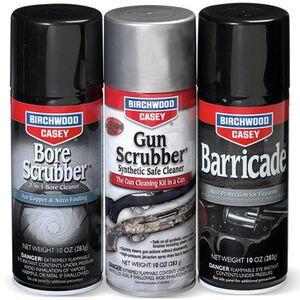 Birchwood Casey 1-2-3 Aerosol Value Pak with Bore Scrubber, Gun Scrubber and Barricade 10 oz Cans 33309