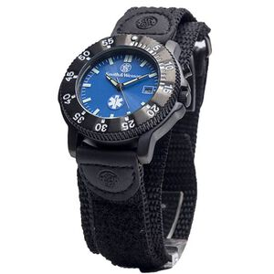 Smith & Wesson Men's EMT Watch with Nylon Strap Water Resistant S&W Logo EMT Logo Blue Face SWW-455-EMT