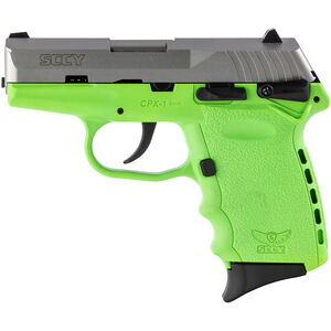 "SCCY CPX-1 9mm Luger Subcompact Semi Auto Pistol 3.1"" Barrel 10 Rounds Ambidextrous Safety Lime Green Polymer Frame with Stainless Slide Finish"