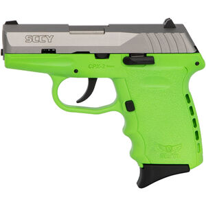 "SCCY CPX-2 9mm Luger Subcompact Semi Auto Pistol 3.1"" Barrel 10 Rounds No Safety Lime Green Polymer Frame with Stainless Slide Finish"