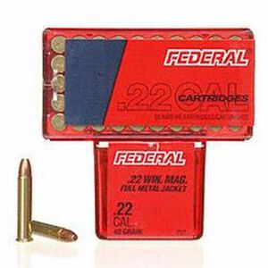 Federal .22 Magnum Ammunition 50 Rounds Target FMJ 40 Grains
