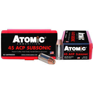 Atomic Subsonic .45 ACP Ammunition 50 Rounds 250 Grain Bonded Match Hollow Point 850fps