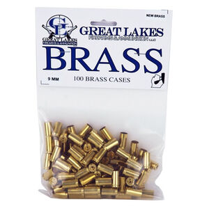 Great Lakes Firearms and Ammunition 9mm Luger New Unprimed Brass 100 Pack B687351