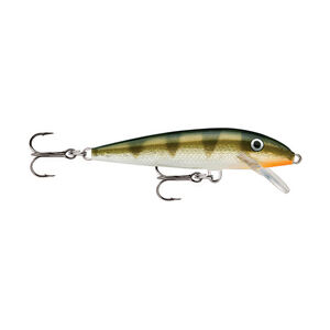 "Rapala Original Floating Lure 3.5"" Length 3'-5' Depth 2 Number 7 Treble Hooks Yellow Perch"