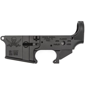 Spikes Tactical AR-15 Forged Stripped Lower Receiver Aluminum Jolly Roger Pirate Logo Black STLS016