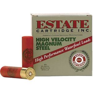 "Estate Cartridge High Velocity Magnum Steel Load 20 Gauge Ammunition 2-3/4"" Shell #2 Steel Shot 3/4oz 1400fps"
