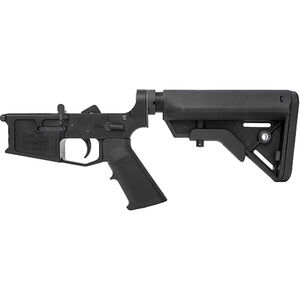 New Frontier C-4 AR-15 Complete Lower Receiver Assembly .223/5.56 Multi-Caliber Marked Billet Aluminum Standard LPK B5 Collapsible Stock Black