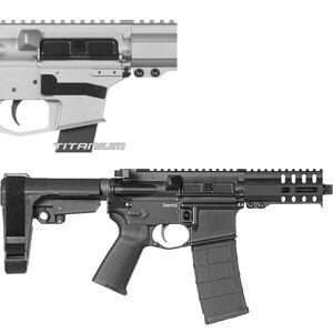 "CMMG Banshee 300 Mk4 9mm Luger AR-15 Semi Auto Pistol 5"" Barrel 30 Rounds Uses ARC Magazines RML4 M-LOK Handguard CMMG Micro/CQB RipBrace Titanium Finish"