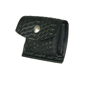 "Boston Leather Rubbler Glove CPR Shield Pouch 2.25"" Belt Brass Snap Leather Basket Weave Black 5640-3-B"