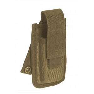 Voodoo Tactical Molded Single Pistol Magazine Pouch Velcro Flap Closure MOLLE/PALS Compatible Nylon Coyote Tan
