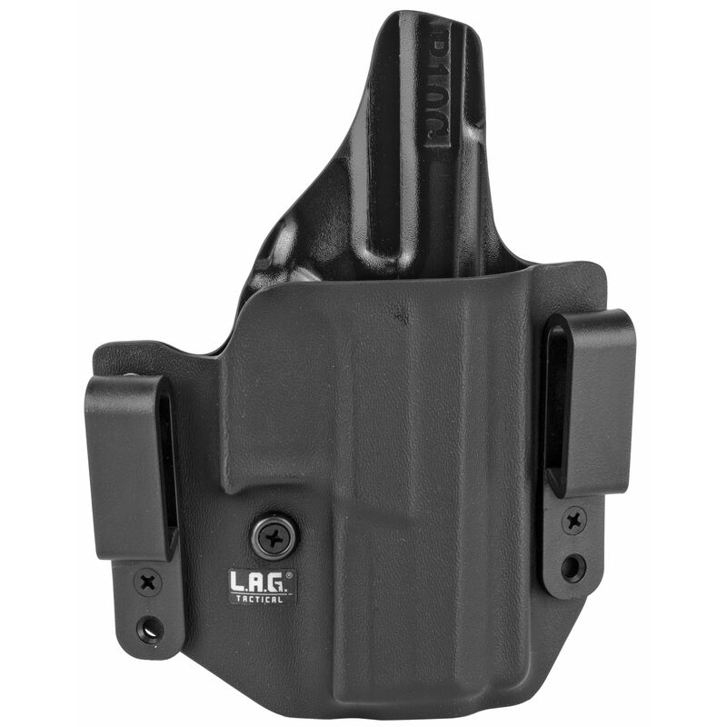 LAG Tactical Defender Series OWB/IWB Holster for CZ P-10C Models Right Hand Draw Kydex Construction Matte Black Finish