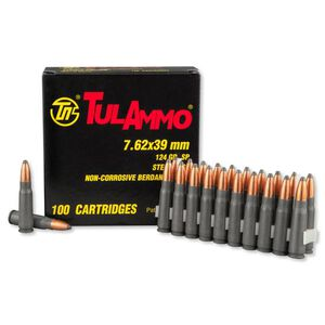 TulAmmo 7.62x39mm Ammunition 100 Rounds Steel SP 124 Grains UL076260