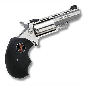 """North American Arms Black Widow Revolver Single Action .22LR/.22WMR 2""""  5 Rounds Black Rubber Grips Stainless Finish Fixed Sights"""