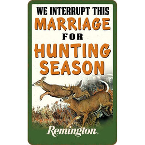 """Open Road Brands """"Remington We Interrupt This Marriage"""" Embossed Tin Sign 6""""x9.75"""""""