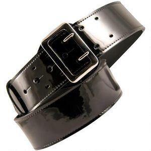 "Boston Leather Lined Sam Browne Belt 40"" Brass Clarino Black"