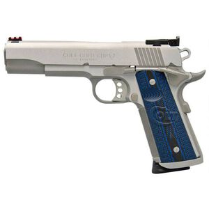 """Colt 1911 Gold Cup Trophy Semi Auto Pistol 9mm Luger 5"""" National Match Barrel 9 Rounds Fiber Optic Front Sight/Bomar Style Rear Sight Colt G10 Grips Brushed Stainless Steel"""